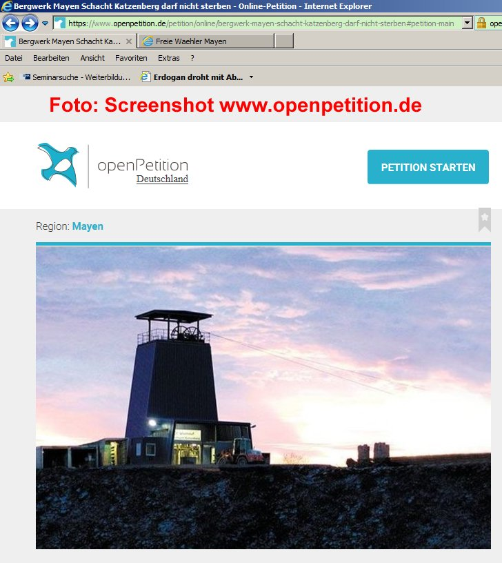 Petition 1x klicken Foto: Screenshot www.openpetition.de/petition/online/bergwerk-mayen-schacht-katzenberg-darf-nicht-sterben#petition-main